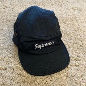 Navy blue satin supreme six panel hat